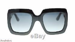 Gucci Women Square Sunglasses GG0053S 001 Black/Grey Lens 54mm Authentic