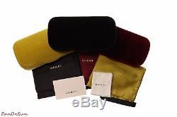 Gucci Women Square Sunglasses GG0102S 001 Black/Grey Lens 54mm Authentic