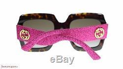 Gucci Women Sunglasses GG0102S 003 Havana/Pink Brown Gradient Lens 54m Authentic