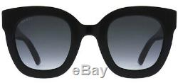 Gucci Women's Black Oversize Cat-Eye Sunglasses with Gradient Lens GG0208S 001