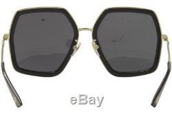 Gucci Women's GG0106S GG/0106/S 001 Black/Gold Square Sunglasses 56mm