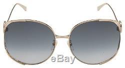 Gucci Womens Sunglasses GG0225S 001 Endura Gold Green Red Frame Grey Lens