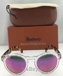 Illesteva Sunglasses LEONARD Round Clear Frame Pink Mirror Lens Leopard C. 25