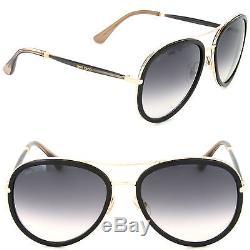 b98b30da756 Jimmy Choo Tora s Qbe-9c Aviator Sunglasses Black dark Grey Gradient Lens