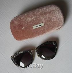 MIU MIU by PRADA Sunglasses Sonnenbrille Cat Eye Glitter Glitzer Schwarz Silber
