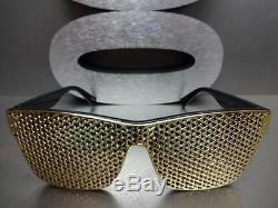 Men Women VINTAGE RETRO Style SUN GLASSES Black Frame Detachable Gold Mesh Cover