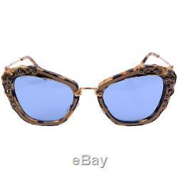 Miu Miu 0MU4 Gold Marble / Blue 04Qs Cats Eyes Sunglasses
