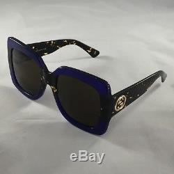 NEW Authentic Gucci GG0083S 003 Blue Tortoise 55MM Oversize Women Sunglasses