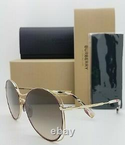 NEW Burberry Sunglasses BE3105 101713 60mm Gold Brown Gradient AUTHENTIC Round