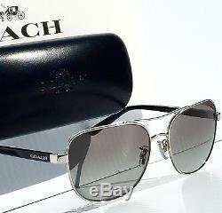 NEW COACH Aviator Squared L1660 Silver Black w Grey Lens Sunglass H7075