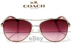 NEW COACH HC7077 Gold & Burgundy 58mm Aviator Rose Lens Sunglass L1015