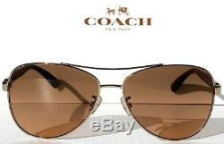 NEW COACH HC7077 Light Gold w Black 58mm Aviator Brown Lens Sunglass L1015