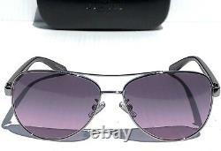 NEW COACH HC7077 SILVER & PURPLE 58mm Aviator Violet Lens Sunglass L1015