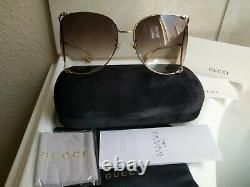NEW GUCCI GG0252S 003 Gold Frame Brown Lens Oversized Sunglasses