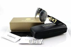 NEW Genuine VERSACE Runway Black Gold Medusa Aviator Sunglasses VE 2150Q 100287