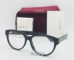 NEW Gucci Cateye RX Frame Glasses Black Gold GG0039OA 001 54mm AUTHENTIC Round