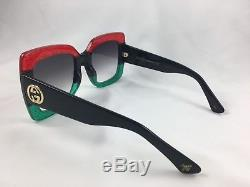 New Gucci Gg0083s 001 Red Black Gradient Lenses 55mm Oversize Women  Sunglasses 36133b83449d