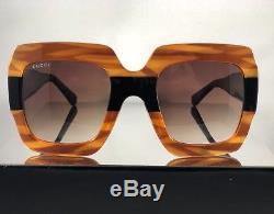 NEW Gucci GG0178S 004 Black Tortoise 54MM Oversized Square Women Sunglasses
