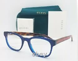 NEW Gucci RX Frame Glasses Blue Havana Red GG0005O 004 51mm AUTHENTIC Cat Eye