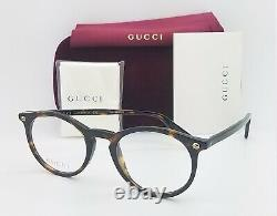 NEW Gucci RX Frame Glasses Havana GG0121O 002 49mm AUTHENTIC Round 0121O Cat Eye