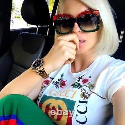 NEW Gucci Urban GG0083S 001 Sunglasses Square Red Green Black 100% AUTHENTIC