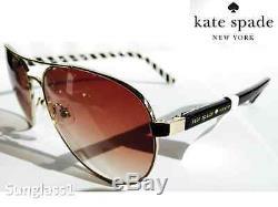 NEW KATE SPADE Aviator Silver Black w Bronze Gradient Lens Blossom Sunglasses