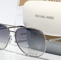 NEW MICHAEL KORS AVIATOR Silver w Blue Grey Lens 58mm MK5009 Rodinara Sunglass
