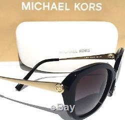 NEW MICHAEL KORS Antonella Gold & Black Frame Grey Grad Lens Sunglass MK 2030