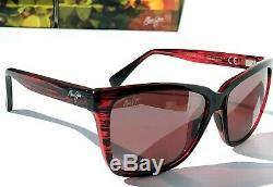 NEW Maui Jim JACARANDA Red Stripe POLARIZED Grey Women's Sunglass R763-07