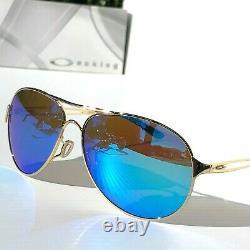 NEW Oakley CAVEAT Gold Aviator POLARIZED Galaxy Sapphire Womens Sunglass 4054