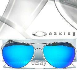 NEW Oakley CAVEAT Silver POLARIZED Sapphire Womens 60mm Aviator Sunglass 4054