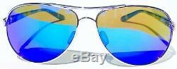 NEW! Oakley FEEDBACK Aviator Chrome POLARIZED Galaxy Blue Womens Sunglass 4079