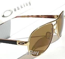 NEW Oakley TIE BREAKER GOLD POLARIZED Aviator Womens Sunglass 4108-03