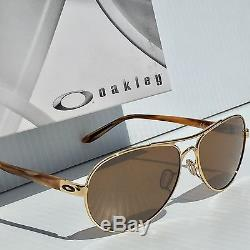 NEW Oakley TIE BREAKER Gold 59mm AVIATOR w Tungsten Women's Sunglass 4108-06