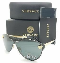 NEW Versace sunglasses Medusa VE2161 100287 42 Gold Black Grey AUTHENTIC Aviator