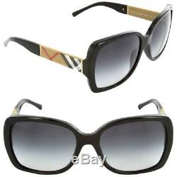 NWT Burberry Sunglasses BE 4160 3433/8G Black / Gray Gradient 58 mm 34338G NIB