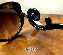 NWT PRADA Minimal Baroque Butterfly Cat Eye Tortoise Frame Black Arm Sunglasses