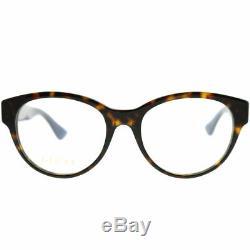 New Authentic Gucci GG0039O 003 Dark Havana Plastic Round Eyeglasses 52mm