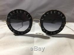 New Authentic Gucci GG0113S 001 Black Silver Sunglasses 44mm L'Aveugle Par Amour