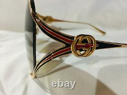 New Authentic Gucci GG0225S 002 Gold Oversize Women Sunglasses