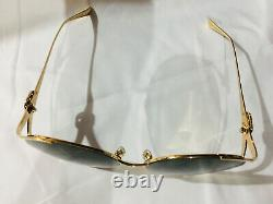 New Authentic Gucci GG0225S 002 Gold Oversize Women Sunglasses Green Lens