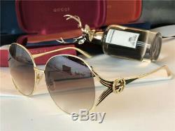 New Authentic Gucci GG0225S 003 Gold Green Oversize Women Sunglasses 08896520495