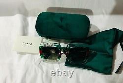 New Authentic Gucci GG 0178S 001 Multicolored/Green Gradient Sunglasses