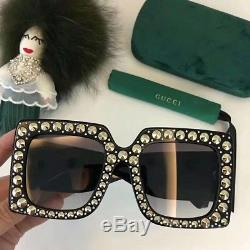 New Authentic Gucci Sunglasses GG0145S Black Frames Gray Lens Oversize