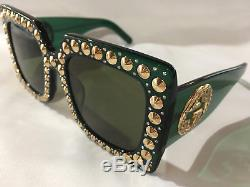 New Authentic Gucci Sunglasses GG0145S Green Frames Gray Lens Oversize