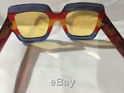 New Authentic Gucci Sunglasses GG0178S Women's Blue Oversized Square