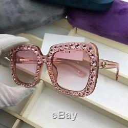 985a0b2852e05 New Authentic Gucci Sunglasses Gg148s Women s Pink Oversized Square Bling