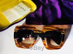 e33b250d9d2 New Authentic Gucci Sunglasses Gg178s Women s Transparent Brown Oversized  Square