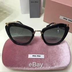 5fd06dad0f1 New Authentic Miu Miu Sunglasses Mu 10ns 1ab1a1 Black Gray 55mm Smu 10n