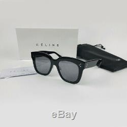 New CELINE CL41444/S 06Z2M Black Gray Kim Square Sunglasses Eyewear Women